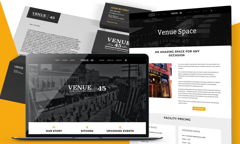 Venue 45 Branding and website design
